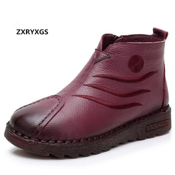 ZXRYXGS Brand Shoes Soft Comfortable Handmade Women Boots Flat Non-slip Autumn Winter Fashion Casual Shoes Cowhide Leather Boots