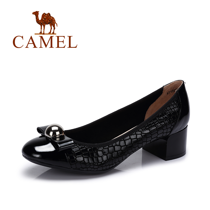 Camel new leisure thick heeled shoes women bow comfortable shallow mouth leather shoes