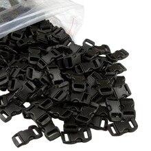 """Высокое качество 100 шт./лот черный пластик 3/"""" /10 мм изогнутые боковые пряжки изогнутые застежки для 550 Паракорд выживания кемпинга"""