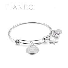 TIANRO High-quality stainless steel bracelet plating Rhodium men and women ink painting bangle jewelry TRB0015W