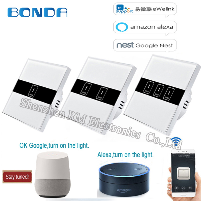 BDNOA EU standard 1/2/3 Gang Wifi control switch, wirelessly controlled light touch wall switch via Ewelink APP for smart Homne sonoff t1 us smart touch wall switch 1 2 3 gang wifi 315 rf app remote smart home works with amazon free ios and app ewelink