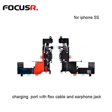 Super Hight Quality Charging Port With Flex Cable And Earphone Jack For Iphone 5S Mobile