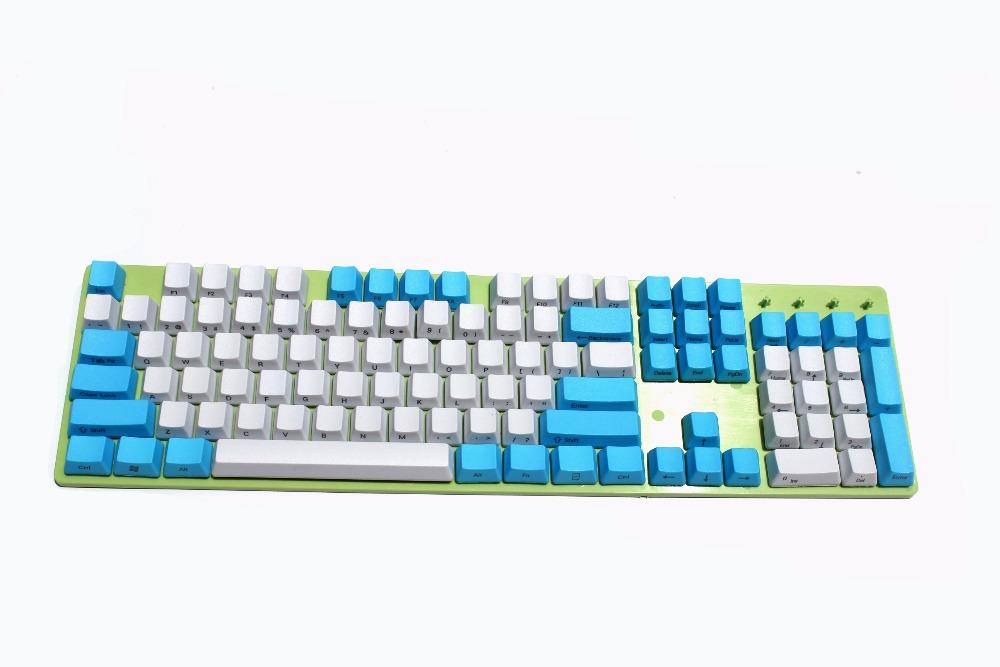 Prix pour NPKC Blanc Bleu mixte Ciel Thème Épais PBT 104 87 61 Keycaps OEM Profil Key caps Pour MX Clavier Mécanique Livraison gratuite
