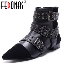 FEDONAS Top Quality Women Genuine Leather +Kid Suede Buckle Rivets Winter Warm Boots Shoes Woman Thick Heel Ankle Martin Boots