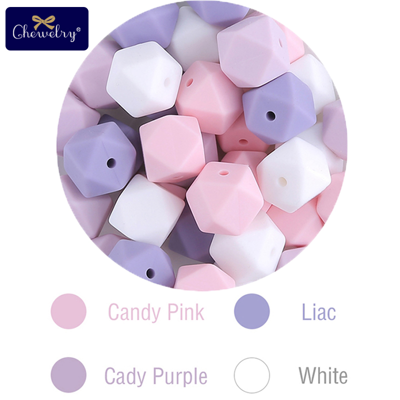 20pc 14mm Baby Silicone Geometric Bead DIY Pacifier Chain Food Grade Perle Silicone Baby Teether Nursing Necklace Nurse Gift Toy