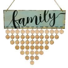 2018 Wood Family Birthday Reminder Calendar DIY Wall Hanging Special Date Planner Sign Board Decor Plaque Gift Material Escolar
