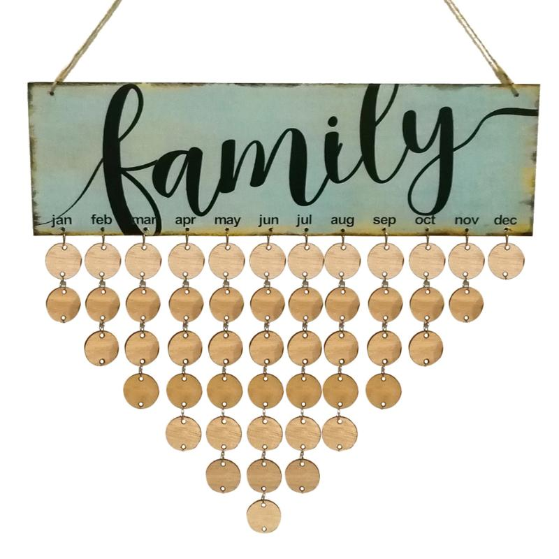 2018 Wood Family Birthday Reminder Calendar DIY Wall Hanging Special Date Planner Sign Board Decor Plaque Gift Material Escolar flower and wood board wall hanging