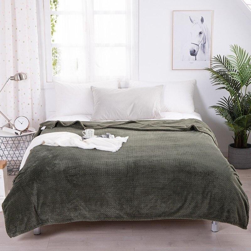 Коралловое флисовое теплое одеяло, всесезонное мягкое удобное покрывало для взрослых и детей, одноцветное постельное белье, одеяло
