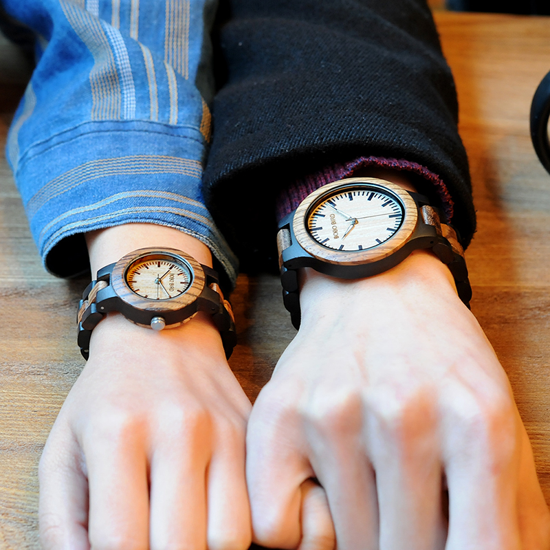 BOBO BIRD Luxury Style Lovers' Wood Watches Luminous Needles Handmade Wooden Band Wristwatch Wooden Relogio Masculino