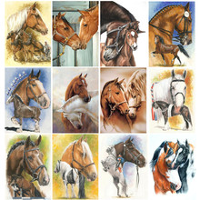 5d Diy Diamond Painting Cross Stitch Family Horse Embroidery Animal Pattern Full Round Mosaic