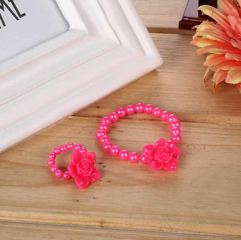 Rose Imitation Pearl Children Beaded Jewelry Sets Flower Pendant Bracelets Choker Necklace African Beads Jewelry Set for Kids