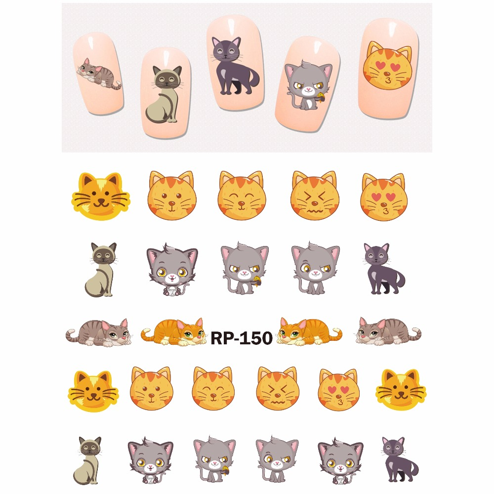 Image 4 - UPRETTEGO NAIL ART BEAUTY NAIL STICKER WATER DECAL SLIDER CARTOON ANIMAL KANGAROO RACCOON CAT XMAS HEDGEHOG RP145 150-in Stickers & Decals from Beauty & Health