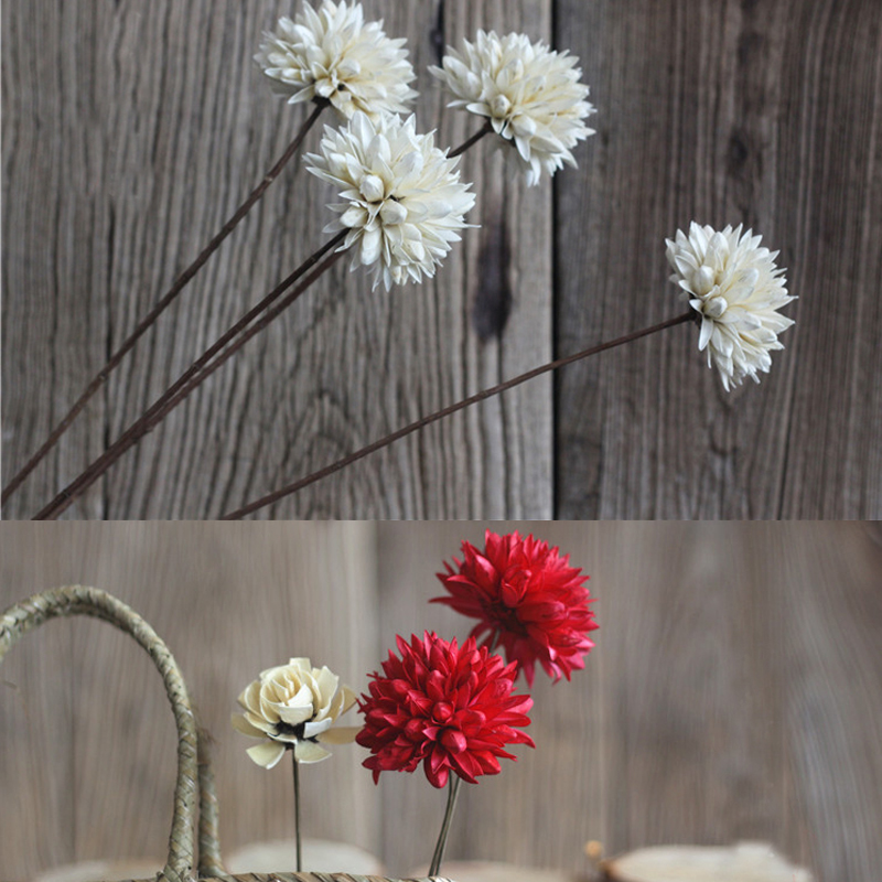 One Piece Magnolia Flower Natural Plant Combination Dried Flower Ball With Long Rid 3 Colors Home Decoration Flower Arrangement