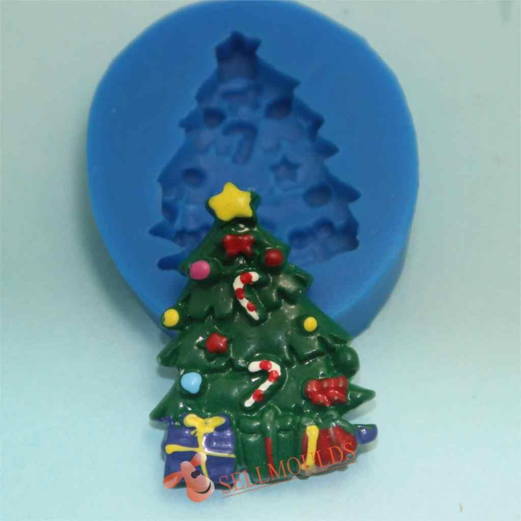 F1015 شجرة عيد الميلاد الديكور سيليكون قالب فندان السكر الحرفية قوالب تزيين الكعكة