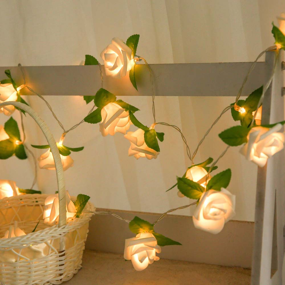 2M 20led AA Battery Powered Rose Flower Christmas Holiday String Lights Valentine's Day Wedding Party Garland Decor Luminaria