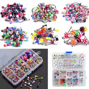 60Pcs/lot Mixed Lip Piercing Barbell Eyebrow Navel Tongue Belly Rings Fashion Body Jewelry Wholesale