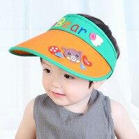 Baby Visor Hat Summer Hollow Boy Girls Lovely Beach Cartoon Bear Sun Hats Caps Baby Clothing