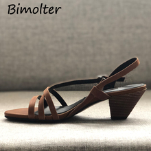 Bimolter Narrow Band Womens Sandals Open Toe Gladiator Wedges Heels Sexy Summer Ladies Retro Lady Confort Shoes Sandalias FB031