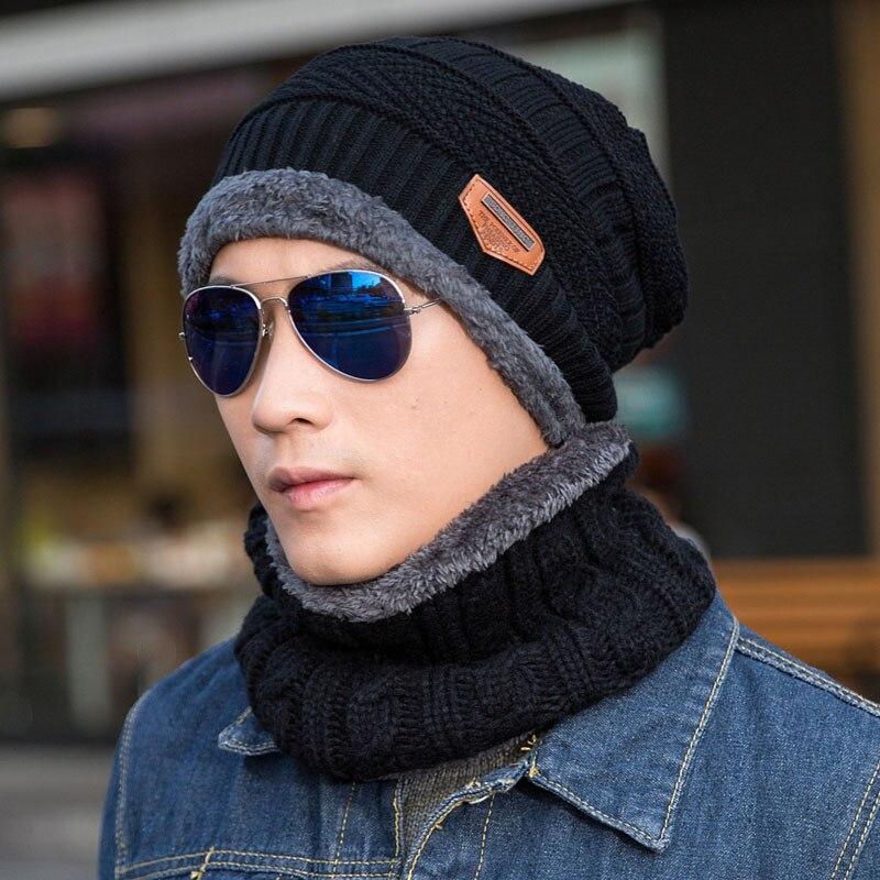 Winter Men Beanies Hat Neck Plus Velvet Warmer Woolen Scarf Cap Hat for Men Soft Knitted Skullies Beanies Male Caps Beanie