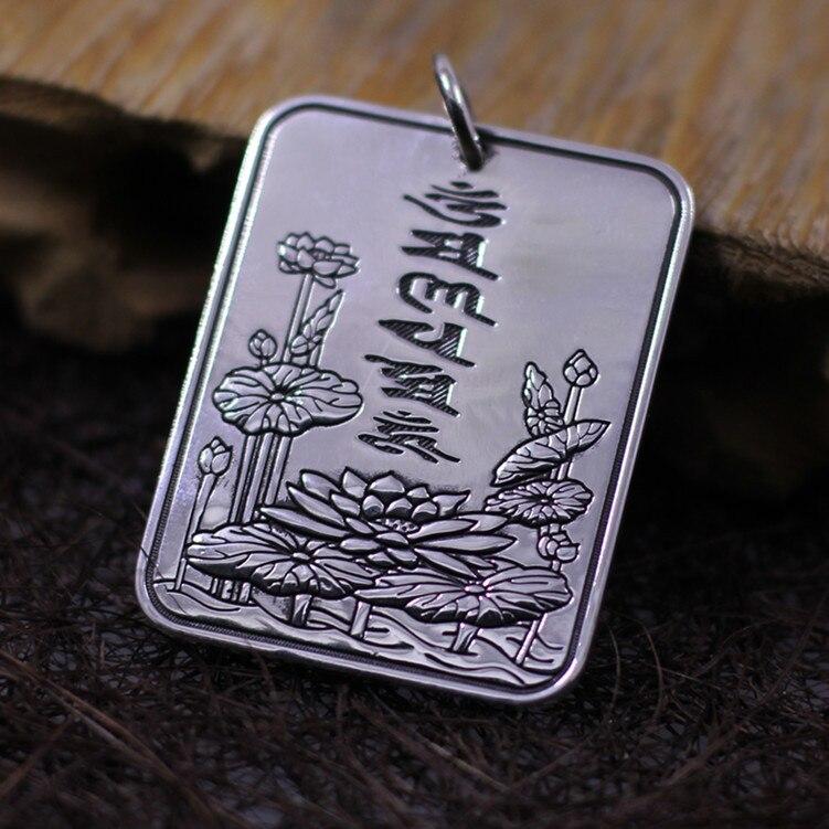Thai silver wholesale S999 fine silver silver mantra unisex pendant fine silver sword manjusri bodhisattva wisdom multiplier silver ms thai silver antique male silver pendants wholesale