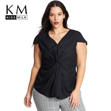 Kissmilk Plus Size Women Dresses Fashion Simple Commute OL Chest Flower Irregular Pleated Shirt