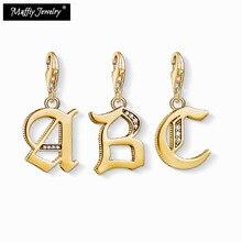 Abalorio Vintage del alfabeto A B C, buena joyería del Club 2019 para mujeres y hombres, regalo Ts Vintage en plata de ley 925 ajuste pulsera para bolso