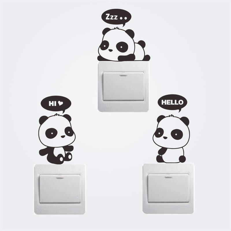 3 divertido pandas interruptor pegatinas de dibujos animados decoración de la pa