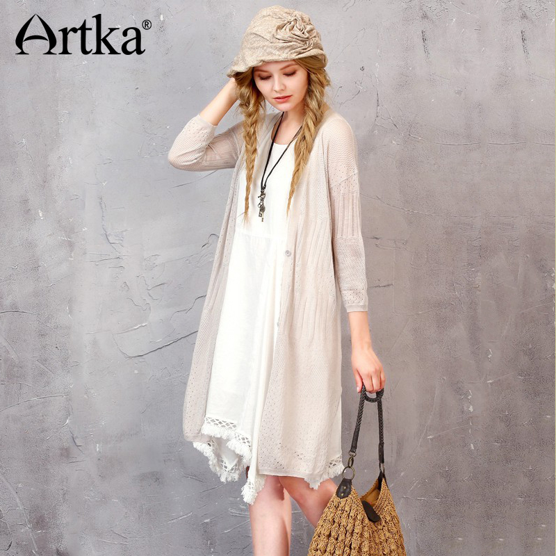 Artka Early Summer Womens Solid Vintage Geometry Jacquard Long Thin Coat Hollow Knit Cardigan W010064C ...