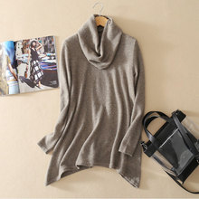 2017 New Green Oversized Sweater 100% Pure Cashmere Pullovers Solid Color Turtleneck Long Sleeve Women's Autumn Outwear Sweaters