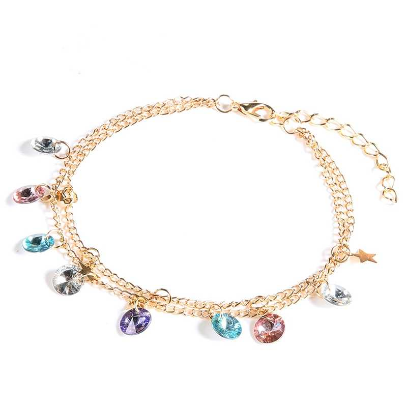 Bohemian Style Anklet Fashion Color  Five-Pointed Star Anklet New Ankle Bracelet Ladies Beach Accessories Gifts