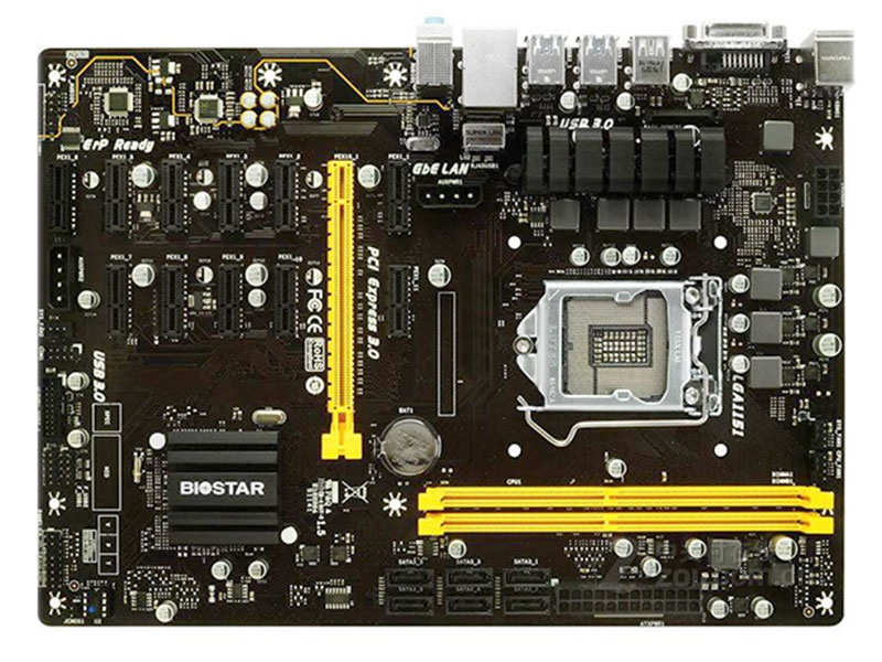 Free shipping original Mining motherboard for Biostar TB250 BTC PRO DDR4 LGA 1151 32GB 6 PCI E B250 Desktop motherboard