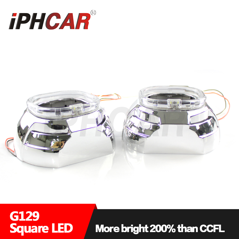 Free Shipping IPHCAR Bi-xenon Hid Projector Lens Light Square LED Ring Angel Eyes Headlight for H1 Mini Projector free shipping iphcar lhd rhd auto driving front lens universal led ring angel eyes light mini projector headlight for h1 h4 h7