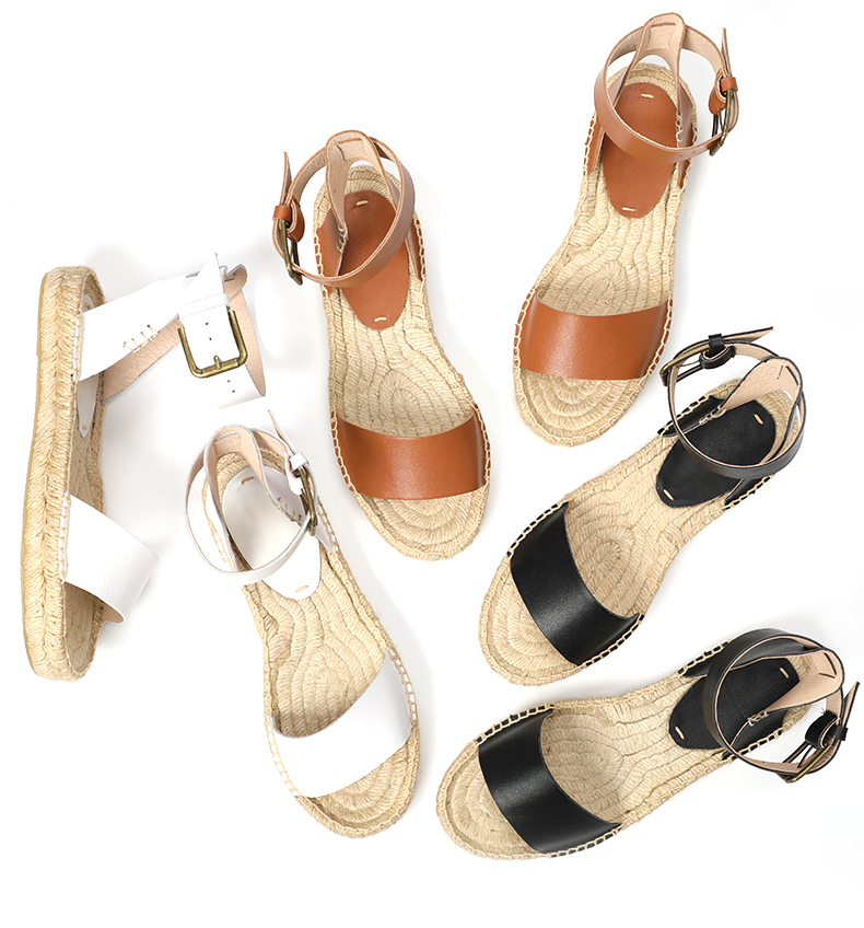 2019 women summer platform sandals Leather espadrille platform sandals