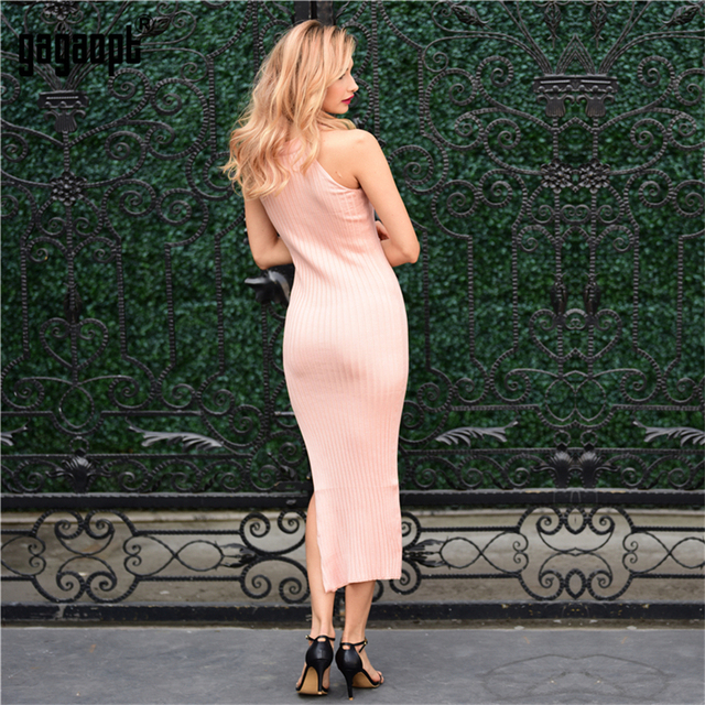 Gagaopt 2017 New Autumn Dress Knitted 4 Color Halter Sleeveless Side Split Black Sexy Long Party Dresses Winter Robes Vestidos
