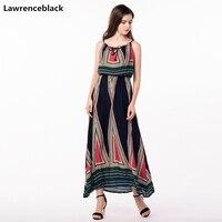 Lawrenceblack plus size oversized Spaghetti Strap Dress women sexy club dresses Ankle length boho dress summer Falda larga W39