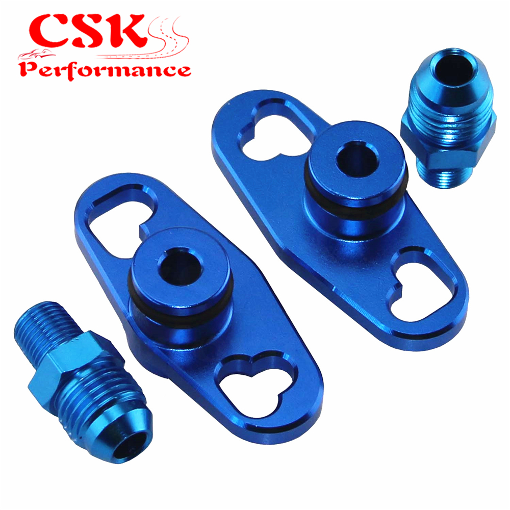 2 Pcs Fuel Rail Adapter With AN6 Tail Fits For Mitsubishi Evo 1 2 3 ECLIPSE DSM BlackBlue