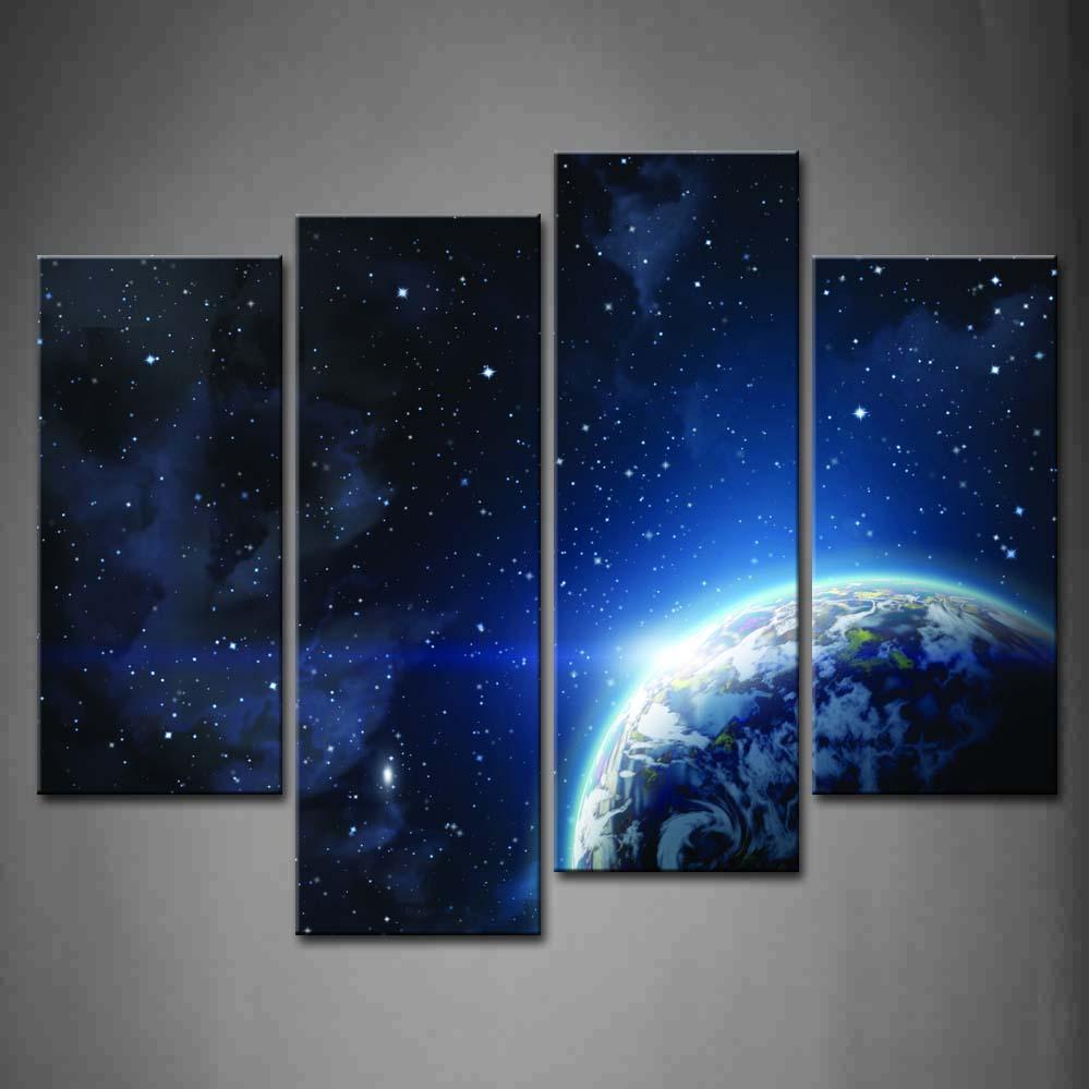 Encadrée mur Art photos planète terre toile impression œuvre abstraite moderne affiches avec cadres en bois pour salon