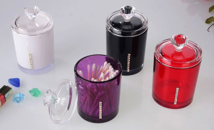 Acrylic Cotton Swab Bud Holder Dispenser Organizer Storage Box Container Multi-function Cosmetic Home Storage Organization