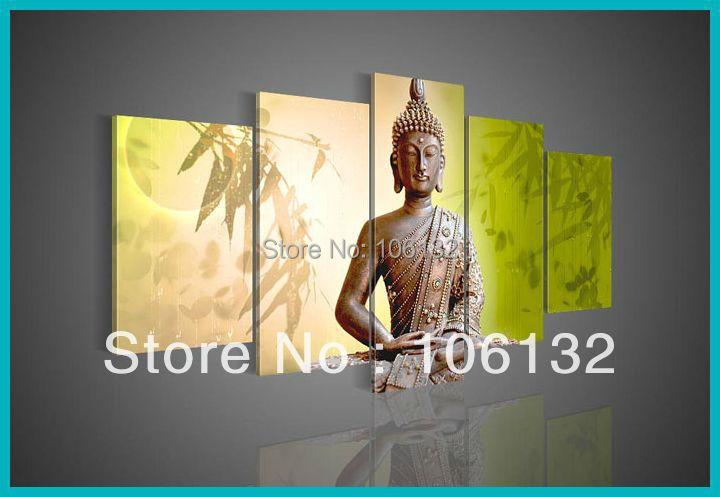 Framed 5 panel large canvas art buddha paintings for sale for Large canvas prints for sale