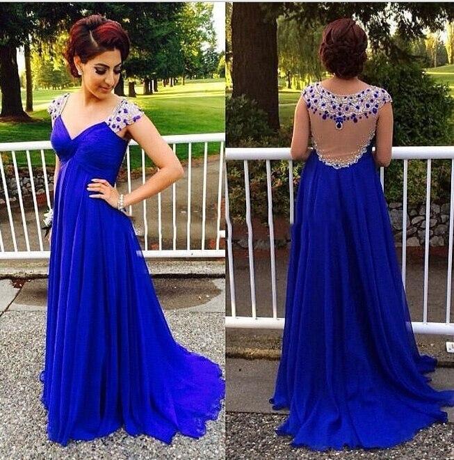 Por Encargo de 2017 del Azul Real de Largo Vestidos de Noche Elegantes  Cristales Gasa Vestido