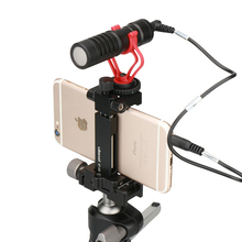 Ulanzi ST-03 Pocket Metal Phone Mount Adapter Smartphone Clamp for Vlogging Selfie Video Broadcasting w Microphone Light Holder