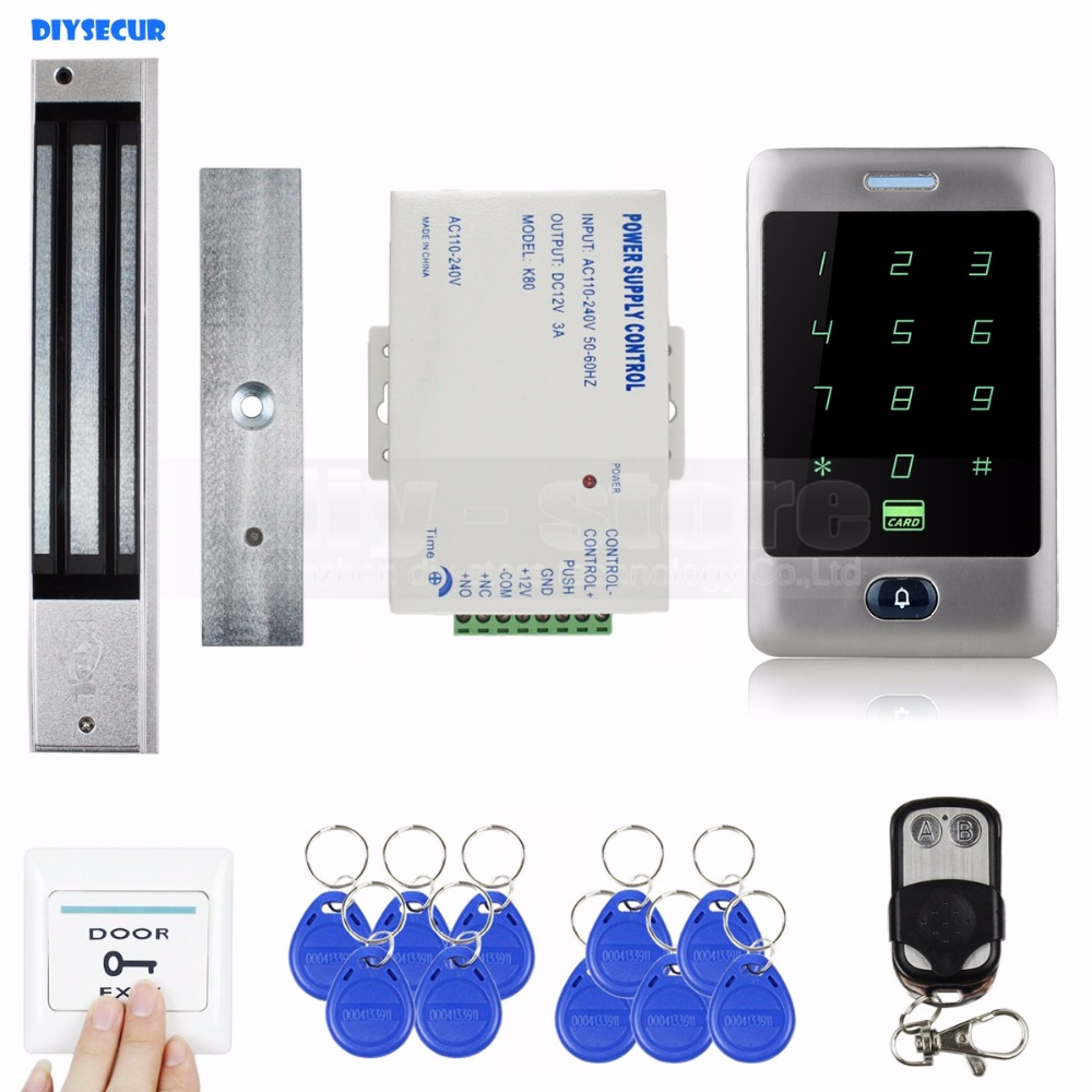 DIYSECUR 125KHz RFID Reader Password Keypad + Magnetic Lock + Remote Control Door Access Control Security System Kit diysecur magnetic lock door lock 125khz rfid password keypad access control system security kit for home office