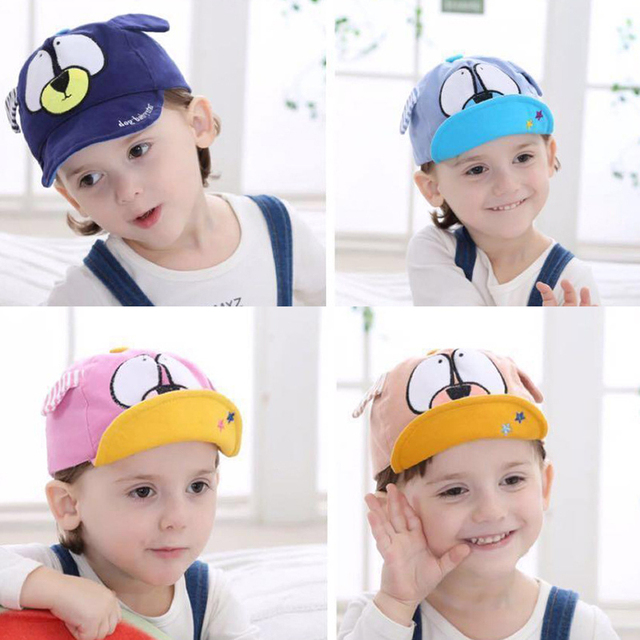 South Korean style Cartoon dog Baby Baseball Cap summer Adjustable Boys  girls Striped sun-hat 12-24 month baby cap af16689e824