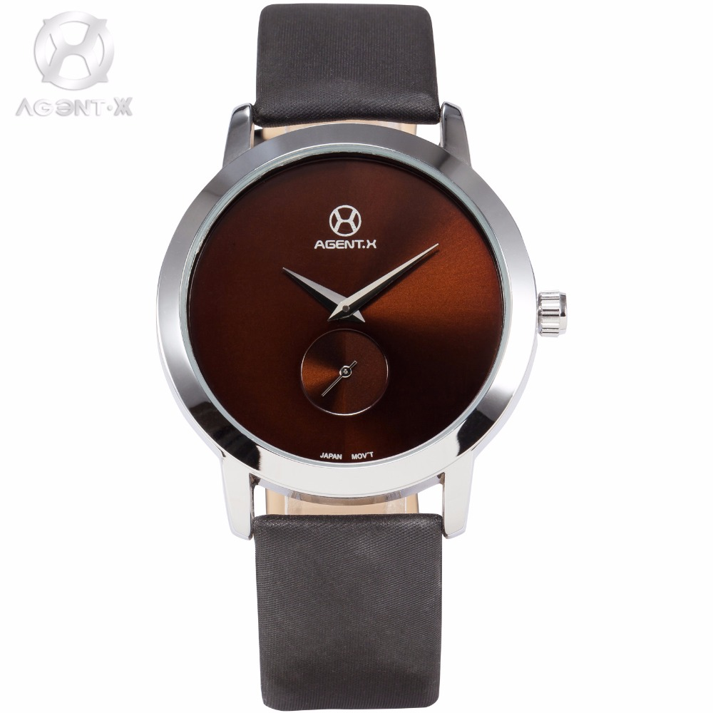 AGENTX Silver Case Brown Small Second Dial Ultra Thin Mens Quartz Watches Leather Band Business Watch Relogio Masculino /AGX070 la vitesse fatale agentx original casual business analog steel band silver case japan movement quartz mens wrist watch agx094