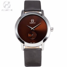 AGENTX Silver Case Brown Small Second Dial Ultra Thin Mens Quartz Watches Leather Band Business Watch Relogio Masculino /AGX070