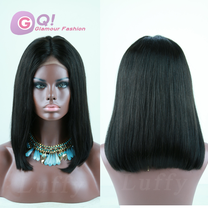 GQ 8A human hair bob wigs for black women middle part