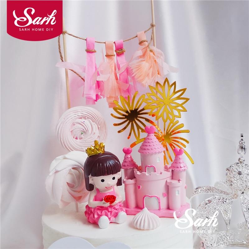 Crown Little Princess Cake Decoration Pink Heart Castle Happy