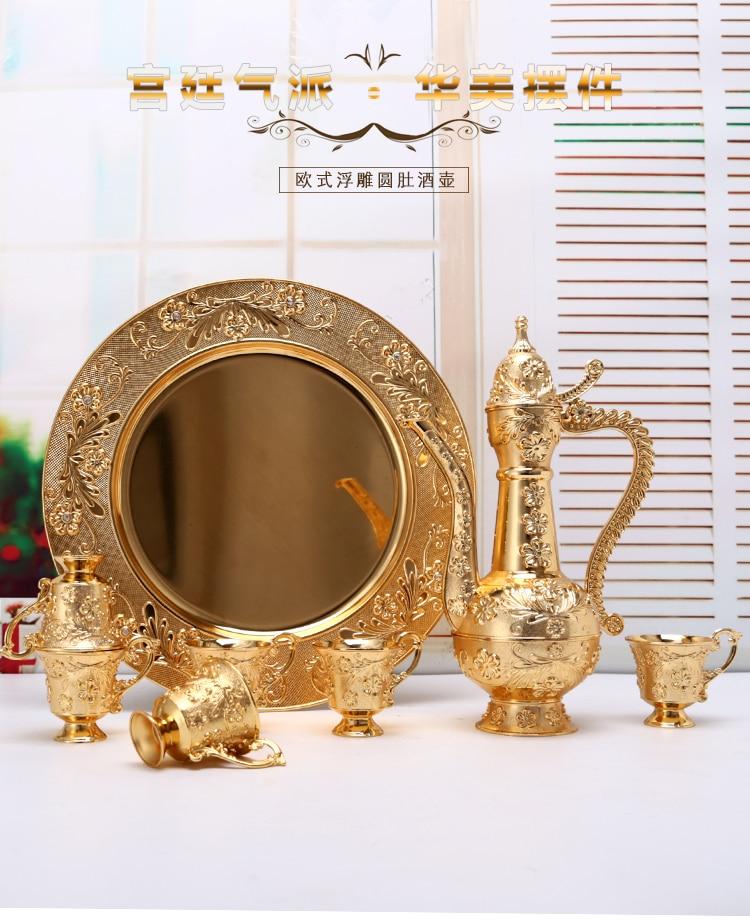 Wholesale European Luxury Sherbet Mass Volume Sherbet Set  Gold Goblet Engraving Shot  teaware Gifts