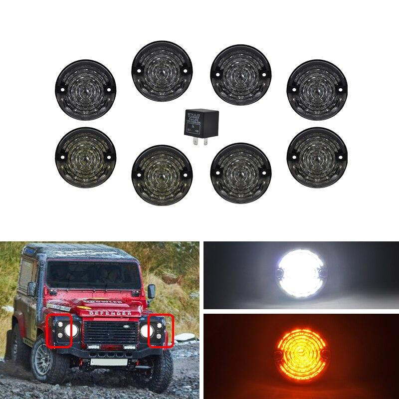 8PCs Kit Smoke For Land Rover 90 110 83 90 Defender 90 16 Led Upgrade Kit