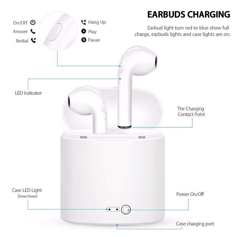 Image 4 - I7 i7s TWS Wireless fone de ouvido for xiaomi in ear Bluetooth Earphone Earbuds Headset With Mic For iPhone all smart phone-in Bluetooth Earphones & Headphones from Consumer Electronics